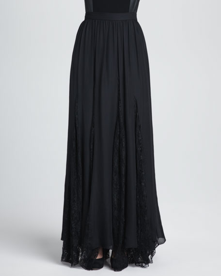 Louie Lace-Inset Maxi Skirt