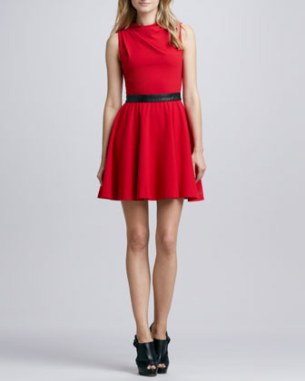 Alma Leather-Waist Dress