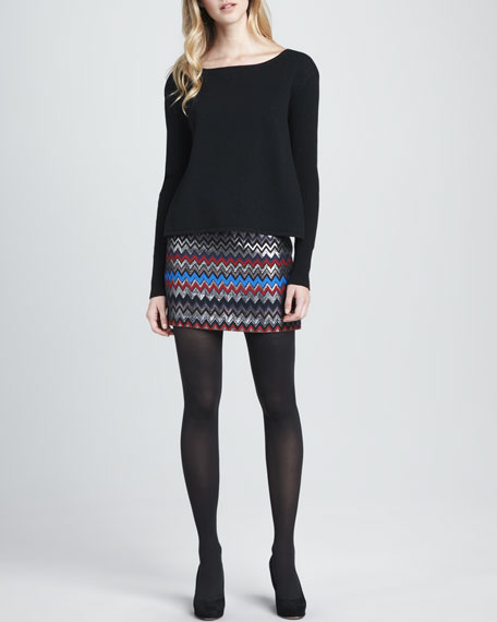 Elana Shimmery Zigzag Miniskirt