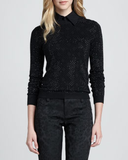 Alice + Olivia Mira Rhinestone Knit Sweater