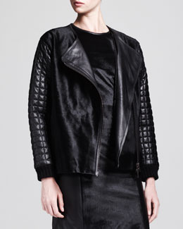 Jonathan Simkhai Motorcycle Leather & Calf Hair Jacket