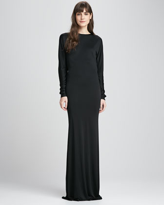Drape-Back Jersey Gown
