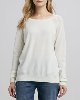 Vince Raglan-Sleeve Cashmere Sweater, Winter White