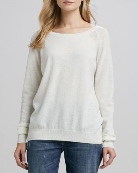 Raglan-Sleeve Cashmere Sweater, Winter White