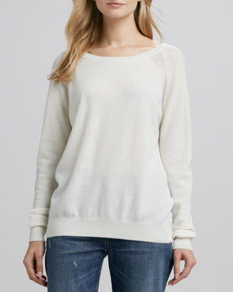 Raglan-Sleeve Cashmere Sweater, Winter White