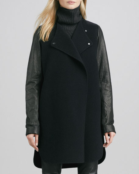 Leather-Sleeved Double-Face Wool Coat, Black