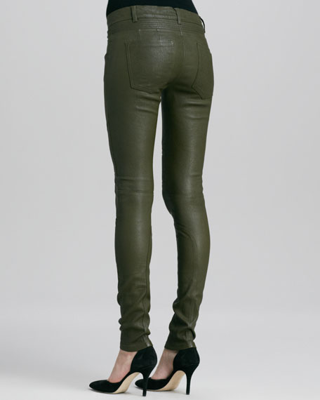 Moto Leather Pants, Khaki Green
