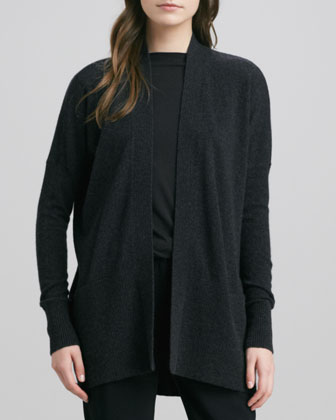 Long Open Cashmere Cardigan, Gray/Black