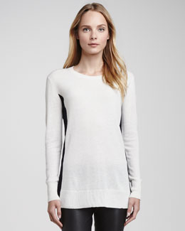 Vince Bicolor Crewneck Cashmere Sweater, White/Coastal