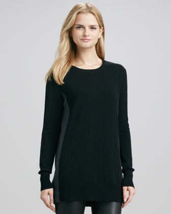 Bicolor Crewneck Cashmere Sweater, Black/Carbon