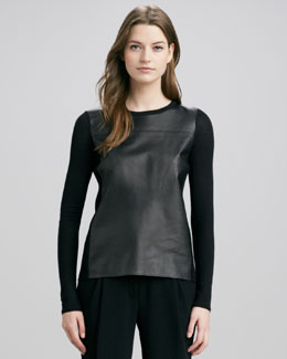 Vince Luxe Leather/Merino Sweater, Black