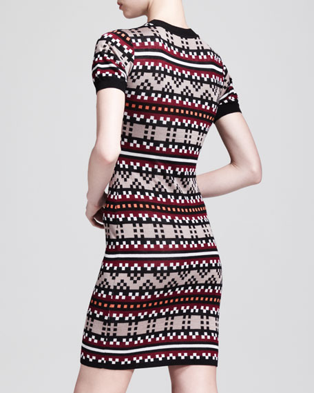 Short-Sleeve Pixel-Knit Dress
