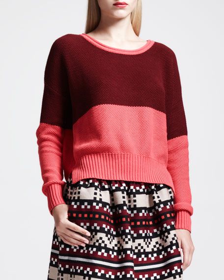 Two-Tone Colorblock Easy Sweater