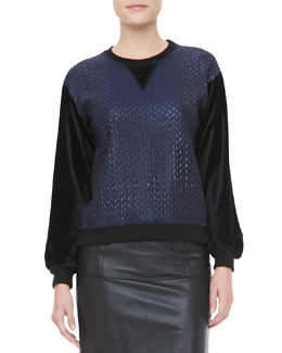 Jonathan Simkhai Textured-Center Crew Sweatshirt