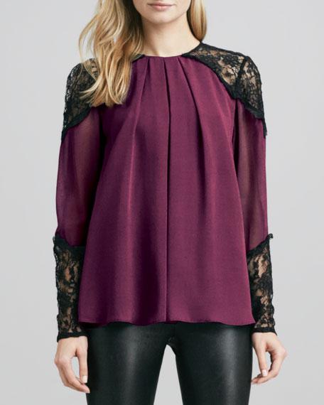 Danyelle Lace-Trim Top, Purple