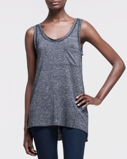 rag & bone/JEAN Sleeveless Slub Pocket Tank, Charcoal Gray