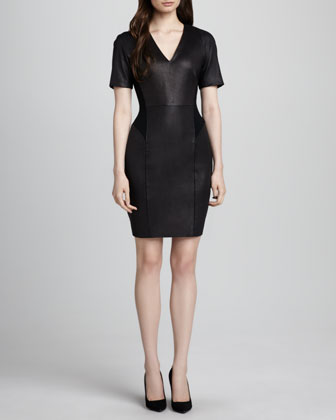Verto Leather-Front Ponte Dress