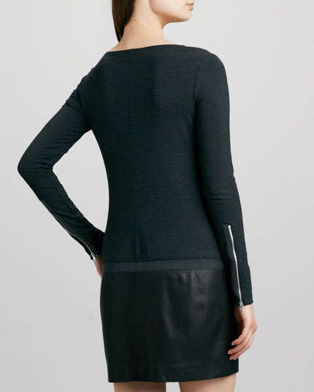 Keiran Leather-Skirt Dress