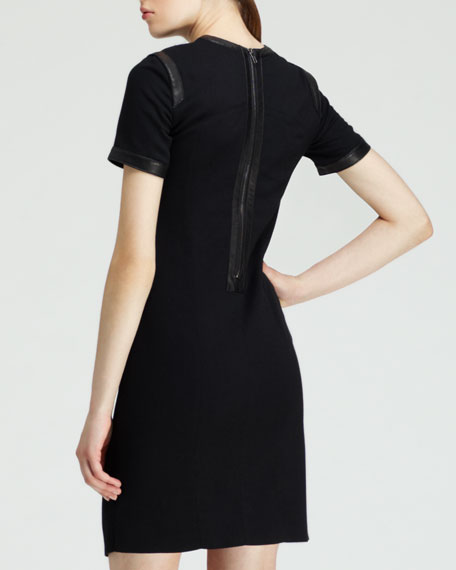 Short-Sleeve Leather-Trim Suiting Dress