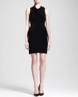 Helmut Lang Cowl-Neck Leather-Panel Dress