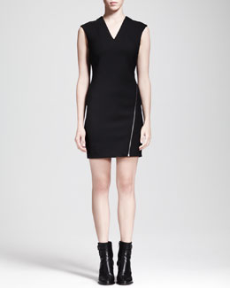 HELMUT Helmut Lang Asymmetric-Zip Moto Dress