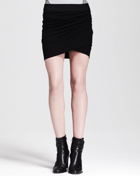 Dry Crepe Ruched Short Skirt