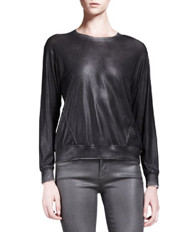 HELMUT Helmut Lang Cliff Coated Crewneck Sweatshirt