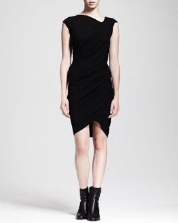 HELMUT Helmut Lang Asymmetric Ruched Crepe Dress