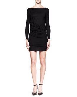 HELMUT Helmut Lang Ruched Jersey Overlap Dress