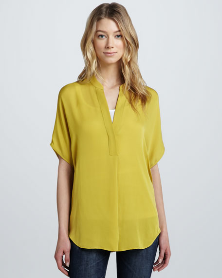 Relaxed Short-Sleeve Tunic Blouse