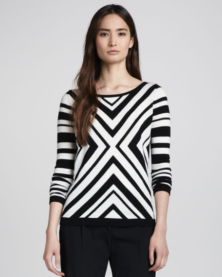 Chevron-Stripe Knit Sweater