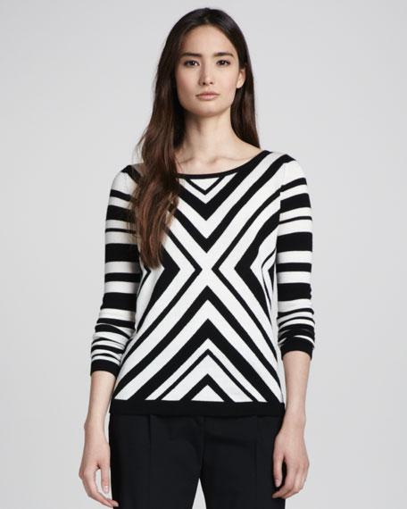 Chevron-Stripe Knit Sweater