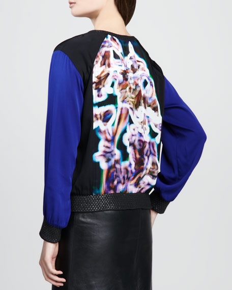 Printed-Panel Colorblock Sweatshirt