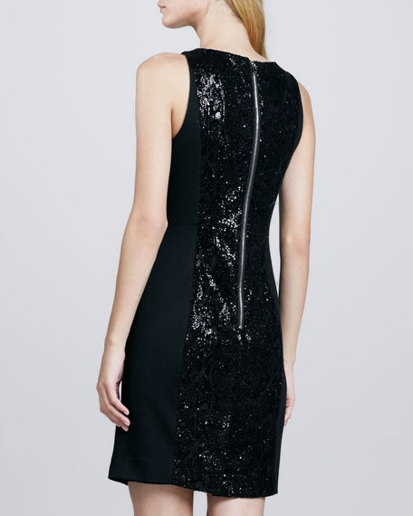 Shimmery-Panel Fitted Dress