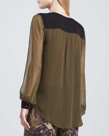 Colorblock Silk Blouse, Military/Black