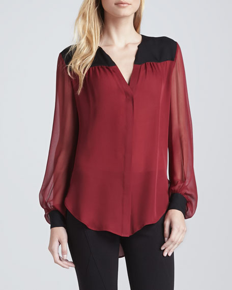 Colorblock Silk Blouse, Burgundy/Black