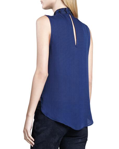 Embellished Sleeveless Silk Blouse