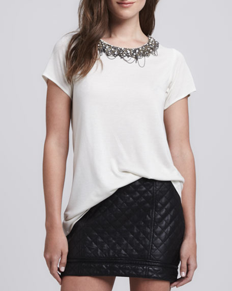 Embellished-Neck T-Shirt
