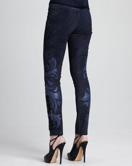 Leather-Applique Suede Pants