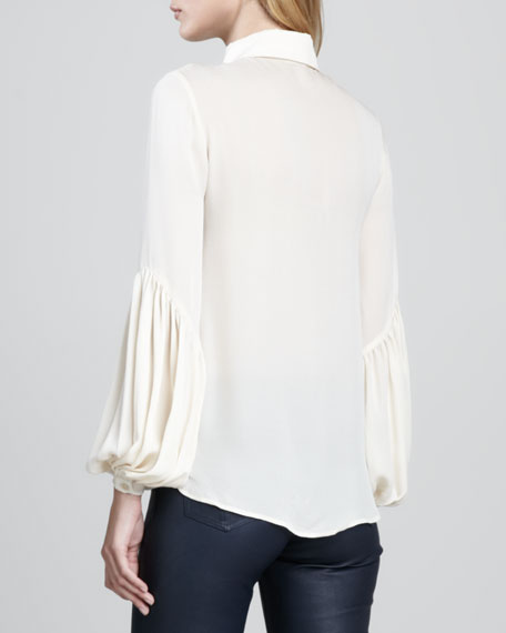 Pleated-Front Silk Blouse