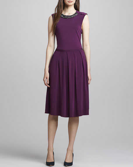 Eva Jewel-Neck Dress