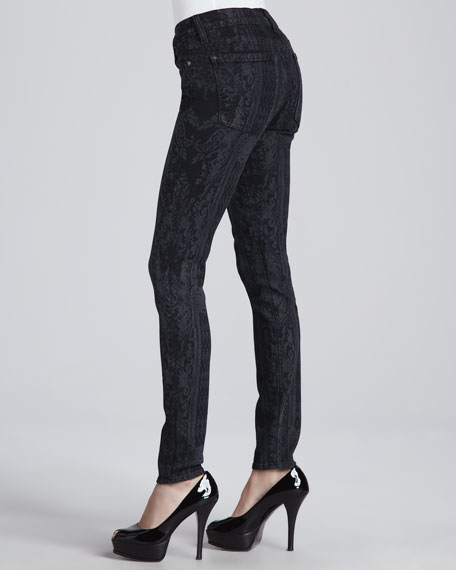 The Skinny Overlay Laser-Print Jeans