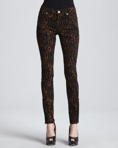 Leopard-Print Skinny Jeans