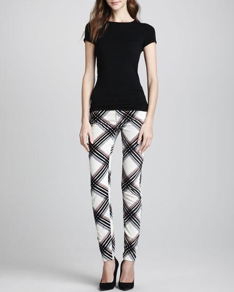 The Skinny Velvet Plaid Pants