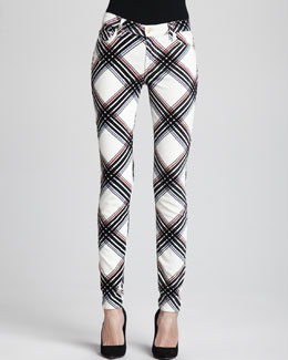 7 For All Mankind The Skinny Velvet Plaid Pants