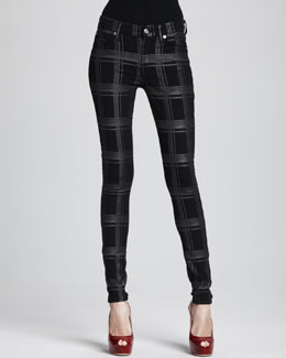 7 For All Mankind The Skinny Plaid Metallic Pants