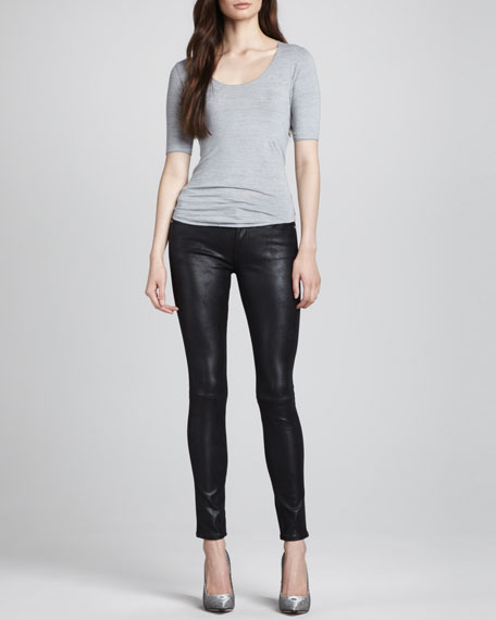 Leather-Like Skinny Jeans, Black