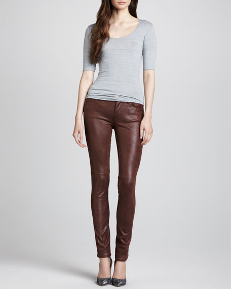 Leather-Like Skinny Jeans, Wine