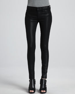 J Brand Jeans Mid-Rise Coated Jeans, Black Quartz