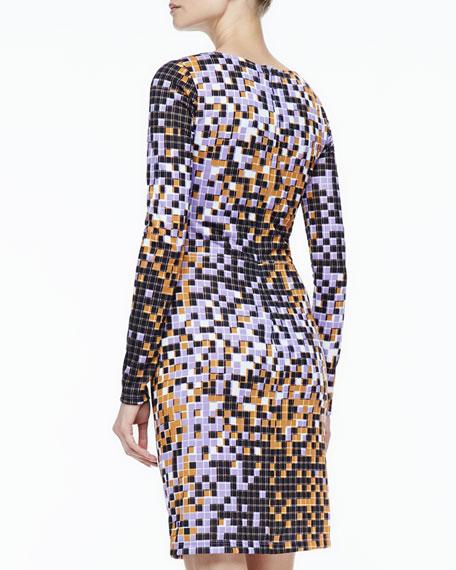 Gathered-Side Printed Dress